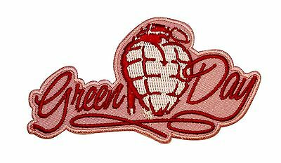 Green Day Pink Heart Grenade Music Band Embroidered Iron On Applique Patch p1722