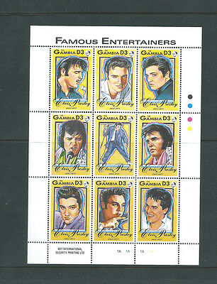 The Gambia unmounted mint Elvis Presley sheetlet of 9 different stamps MNH