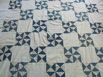 Antique early 1900's Pinwheel Hour Glass quilt top cadette blues plus backing