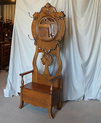Antique Oak Hall Seat and Coat Rack with Round Beveled Mirror