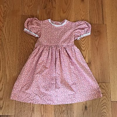 Vintage Handmade 1970s Pink Calico Flower Hippie Boho Little Girls Dress