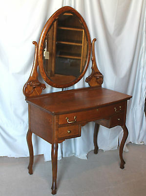 Antique Victorian Oak Vanity – Two Candle Shelves on Mirror Harp - Fancy