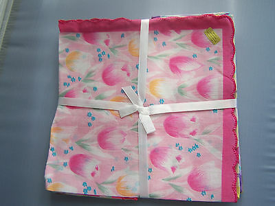 12 Vintage style ladies handkerchiefs; tulips all over! pink, yellow, lavender