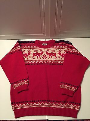 Voss Pure New Wool Norway Reindeer Red Sweater Size L Men