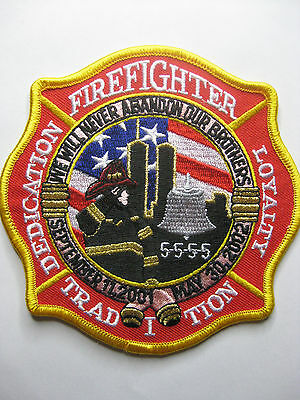 U.s. Feuerwehr Fire Aufnäher  Firefighter 5555 We Will Never Forget Our Brothers