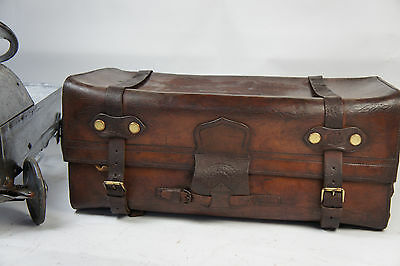 Quality Edwardian English Leather Belted Portmanteau Trunk Suitcase