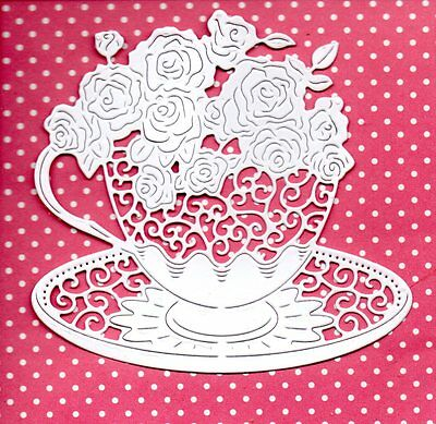 New Tattered Lace Teacup Of Roses Die Cuts - White Topper--Mothers Day Flower