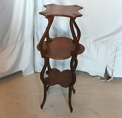 Antique Victorian Oak Three Tiered table Stand