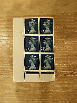 X962  22p BLUE  HARRISON PRINT PCP  IN CYL BLK OF 6    3 NO DOT UNM