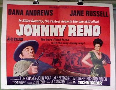 Original Movie Poster Johnny Reno Dana Andrews Lon Chaney Jane Russell 1965