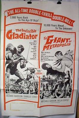 Original Movie Poster Giant of Metropolis & The Invincible Gladiator 1963