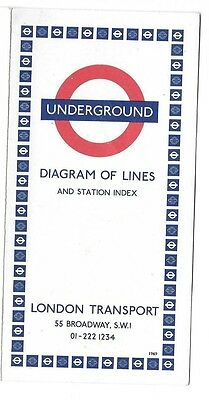 1969 London Underground Map ~ Diagram of Lines and Station Index