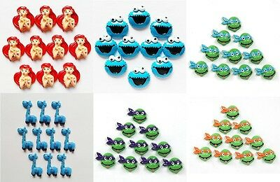 10Pcs Ariel Ninja Turtles Cookie Monster Flat back Resin Scrapbooking Crafts
