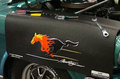 Ford Flaming Mustang Black Non Slip Tool Grip Fender Cover Officially Licensed
