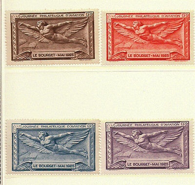 1925 Aviation Poster Stamp Set France Le Bourget Journee Philatelique