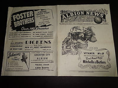 WEST BROMWICH ALBION v COVENTRY CITY  SEPTEMBER 30th 1944/1945