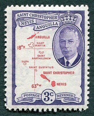 ST. CHRISTOPHER NEVIS AND ANGUILLA 1952 3c SG96 MH FG Map of the Islands a #W14