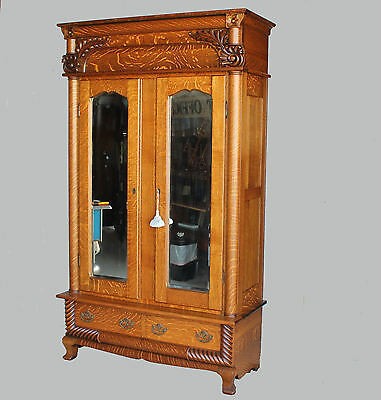 Antique Victorian Oak Wardrobe Armoire – Two Mirrored Doors