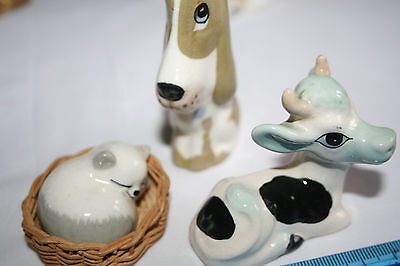 VINTAGE SZEILER ANIMALS - COW , DOG and Cat China ornaments.