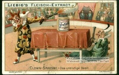 Two Dueling French Circus Clowns NICE c1903 Trade Ad Card