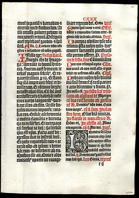 1st Edition German Missal Leaf Feast of Holy Trinity Large Historiated Letter