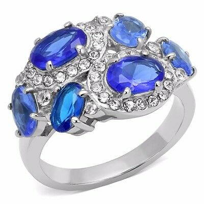 Six Royal Blue Oval CZs Scattered on Stainless Steel Band Ring SZ 5-10