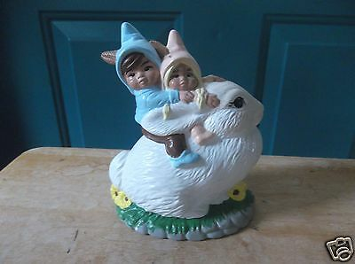 Ceramic White Bunny Rabbit with Two Gnome Children on Top