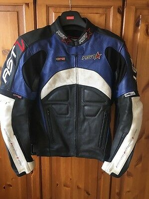 "RST Leather Motorcycle Jacket, Size 42"" Chest VGC"