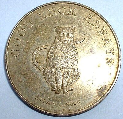 Rare Old - Lucky Cat - I Bring Good Luck to You - Token Medal  - NO RESERVE