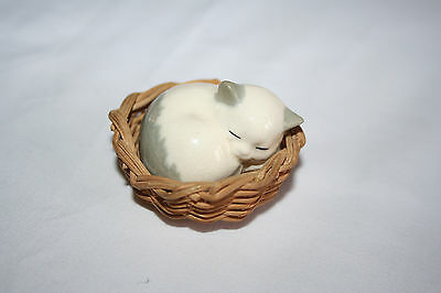 VINTAGE Miniature  Cat in a wicker basket  by SZEILER