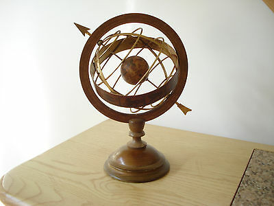 Antique Olde World Globe Italy Wood Metal ASTROLOGY ZODIAC Sphere Armillary