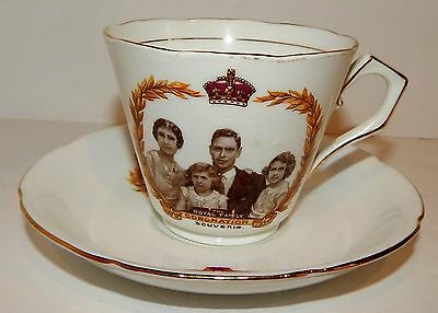 Rare Intimate Portrait - Cup & Saucer Of The Royal Family - Coronation 1937