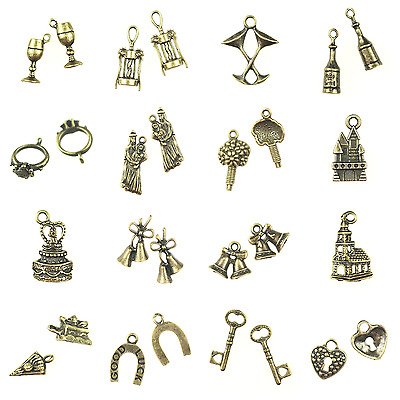 ANTIQUE BRONZE TONE WEDDING THEMED CHARMS 5 pack - GREAT FOR DIY WEDDING FAVOURS