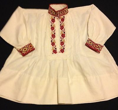 Vintage Ethnic Top Folkloric Dress Embroidered Boho Gathered Girls Child