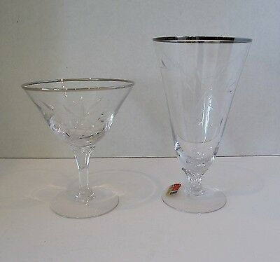 Fostoria Bridal Belle Crystal Iced Tea and Champagne/Sherbet Glasses