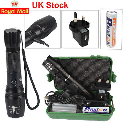 5000LM CREE T6 LED Torch Adjustable Tactical Flashlight FREE Battery & Charger
