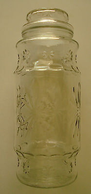 Vintage Original Planters Peanuts Tall Clear Glass Jar with Lid Mr. Peanut 1980