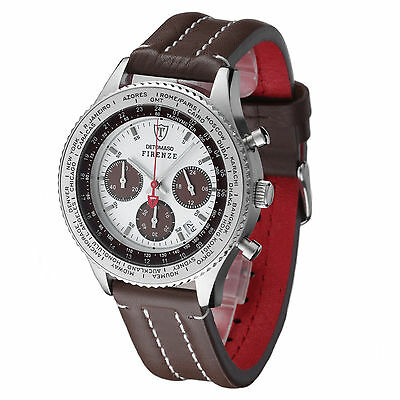DETOMASO Firenze Mens Watch Chronograph Stainless Steel Leather Brown New