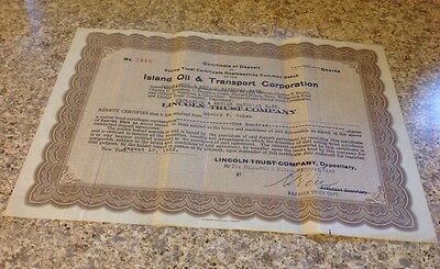 Island Oil & Transport Corp. Stock Certificate From 1922