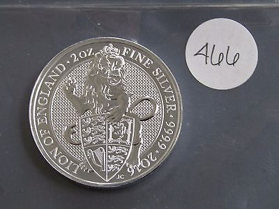 2016 Great Britain 2oz. .999 Fine Silver Lion Of England