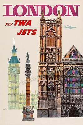 "1960s ""London"" Fly TWAVintage Style Airline Travel Poster - 24x36"