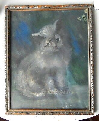 SAD KITTY Original Vintage Folk Art Naive Framed Tempera Painting Grey Cat