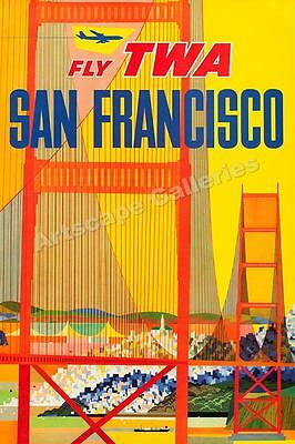San Francisco TWA 1958 Vintage Style Air Travel Poster - 24x36