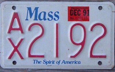 MASSACHUSETTS Spirit of America 1991 Motorcycle Cycle License plate  AX 2192  ^^
