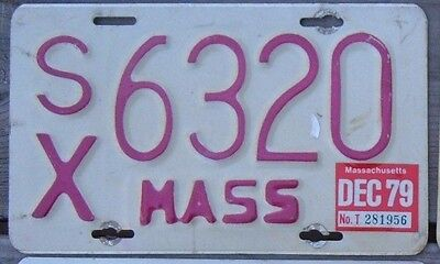 MASSACHUSETTS  VINTAGE 1979  Motorcycle Cycle License plate  SX 6320  ^^