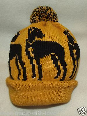 GREAT DANE BLACK dog NEW Knitted Adult size MUSTARD beanie pompom bobble HAT