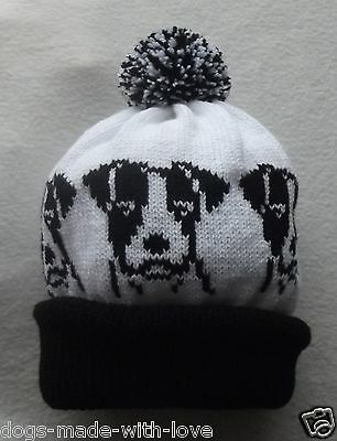 JACK RUSSELL TERRIER dog Knitted BLACK and WHITE beanie bobble ADULT size HAT