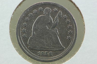 1856 Half Dime F Scratched & Old Cleaning
