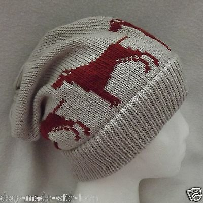 VIZSLA dog NEW Knitted BEIGE Adult size beanie SLOUCH HAT
