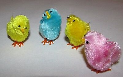 """4 Vintage Chenille Pipe Cleaner Easter Chick Decorations Figures 1.25"""""""